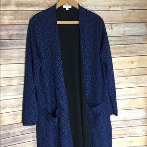 LulaRoe Cardigan Sarah Blue Textured Long Sweater